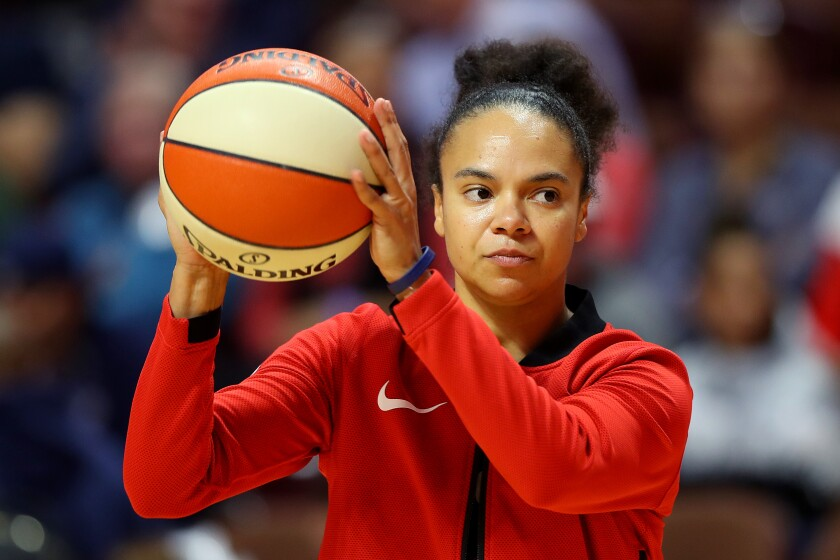 Kristi Toliver warms up for Game 4 of the 2019 WNBA Finals while playing for the Washington Mystics.