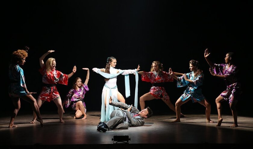 "Erica Wong and Alex Michael Stoll (center) with the cast in David Henry Hwang's vignette ""White Snake,"" part of the Old Globe's world-premiere musical ""In Your Arms."""