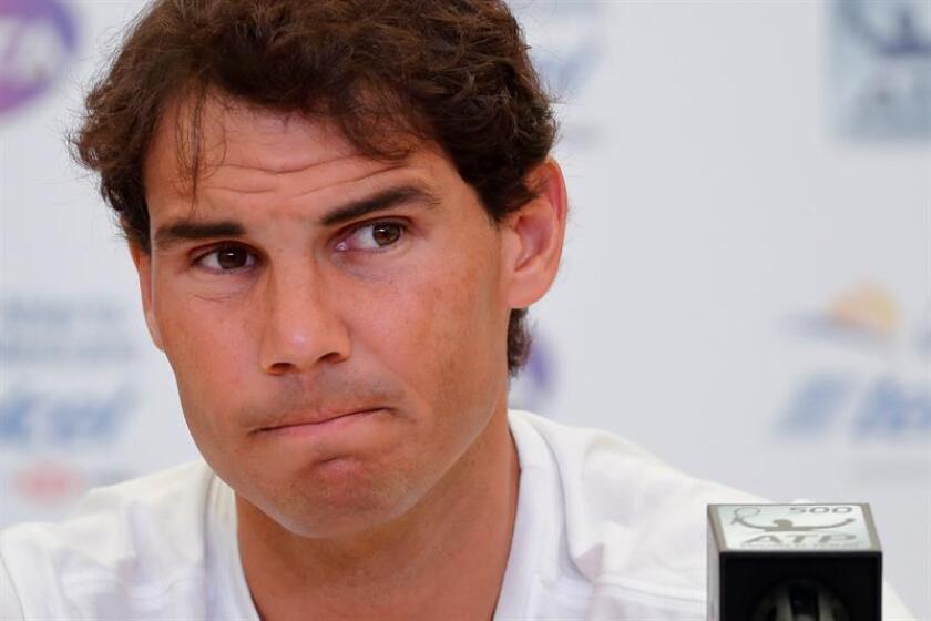 El tenista español Rafael Nadal ofrece una rueda de prensa previa al comienzo del Abierto de Acapulco hoy, domingo 25 de febrero de 2018, en Acapulco (México). EFE