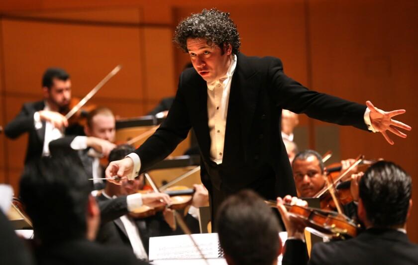 Gustavo Dudamel conducts the Simon Bolivar Symphony Orchestra of Venezuela at Walt Disney Concert Hall in October 2015