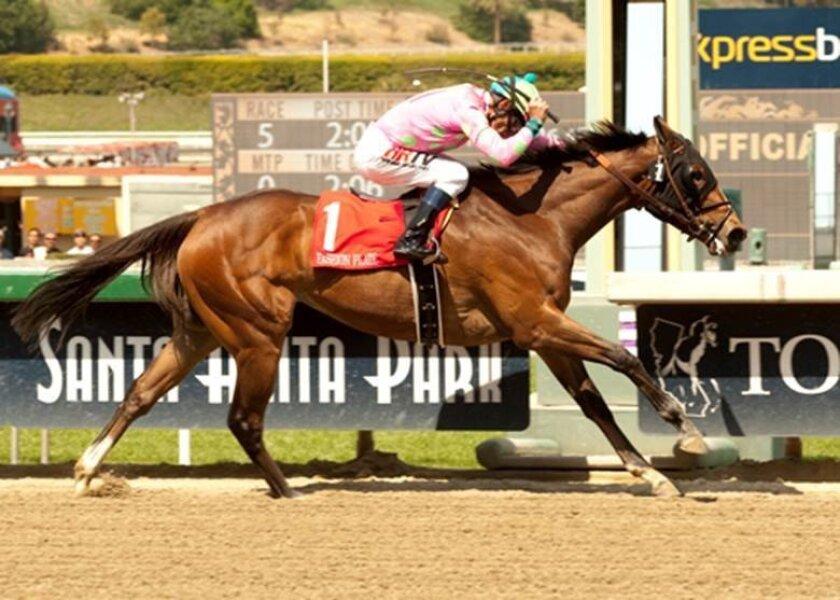 Fashion Plate with jockey Gary Stevens wins the Santa Anita Oaks.