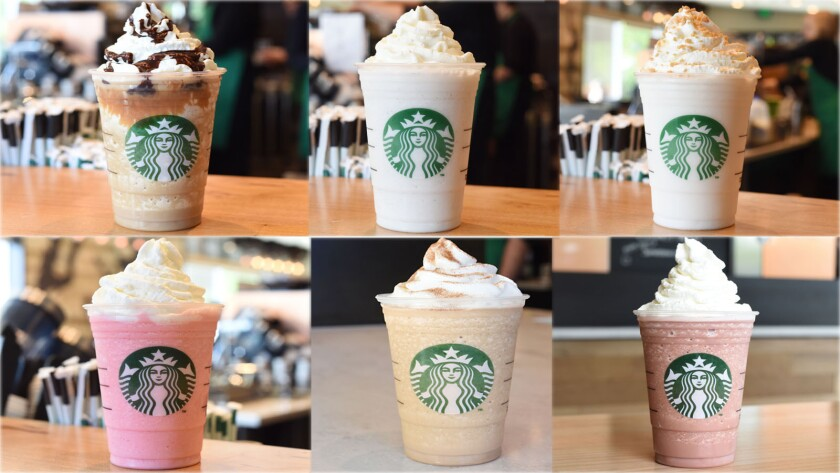 Starbucks has released six new Frappuccino flavors. From top left, Caramel Cocoa Cluster, Cupcake, Lemon Bar, Cotton Candy, Cinnamon Roll and Red Velvet Cake.
