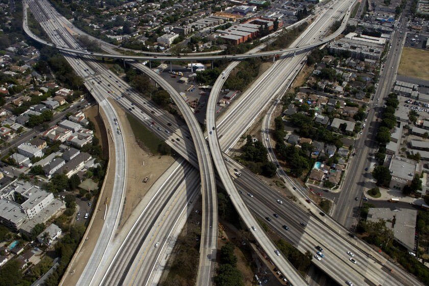 """The empty 405 freeway looking southbound during """"Carmageddon."""""""