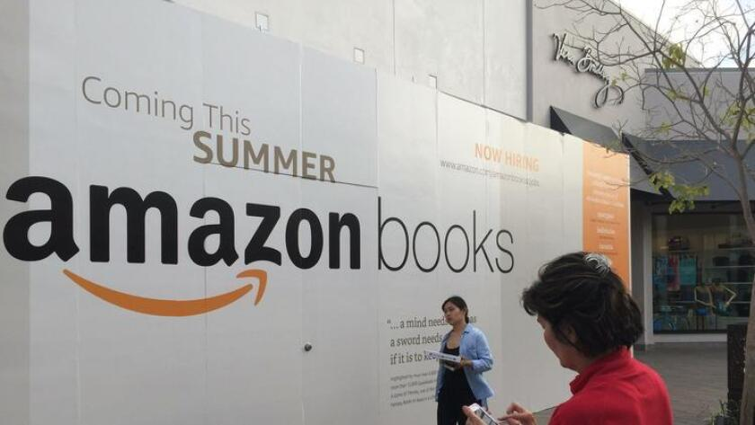 The future home of Amazon's second brick-and-mortar Amazong Books store is at Westfield UTC, an upscale mall in La Jolla. The store will open this summer, according to signage. (Gary Robbins)