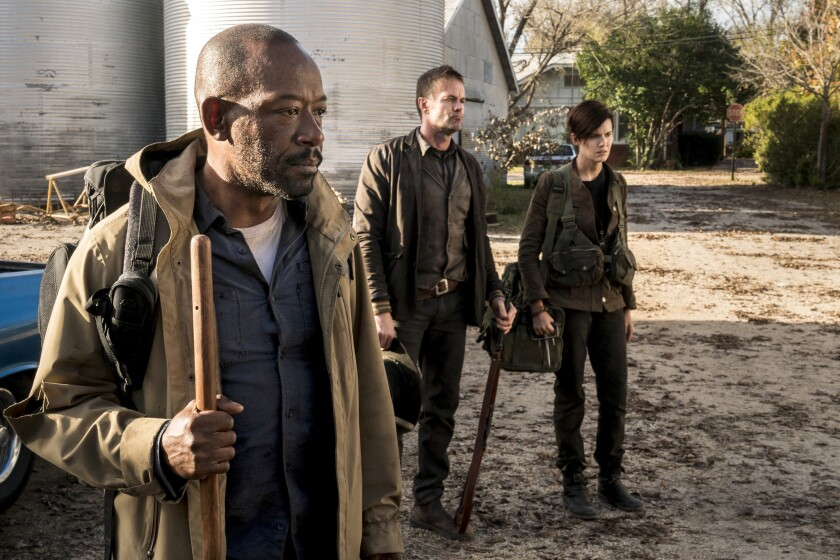 "Lennie James, left, Garret Dillahunt and Maggie Grace on ""Fear the Walking Dead."""