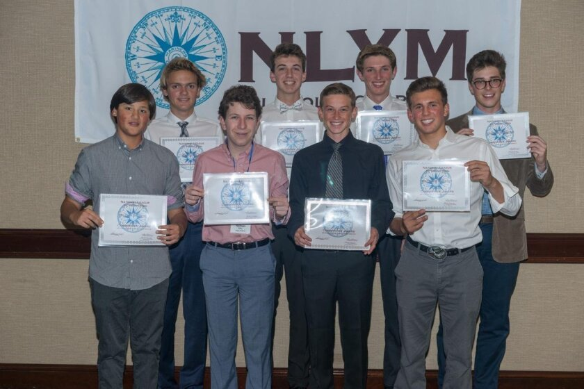 Members of the Class of 2018 who received the Commander Award for 60 or more hours of philanthropic service: (Back row) Max Leonard, Ethan Wagenseller, Oliver Parker and Carwyn Gambling. (Front row) William Browning, Nathan Miller, Mitchell Morrison and Matthew Buckley.