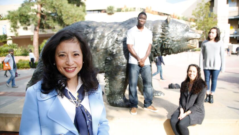 UCLA Foundation President Shirley Wang recently donated $1 million for middle-class scholarships; three students (l to r) Tobi Jekayinfa, Rachel Wilson and Daniela Herrera are middle-class students who recently shared stories of their struggles.