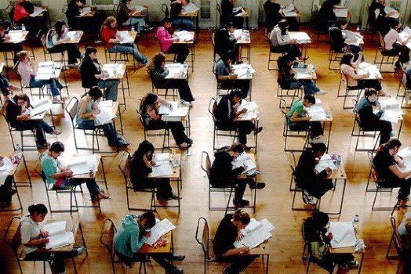 Students take the SAT test before the coronavirus pandemic.
