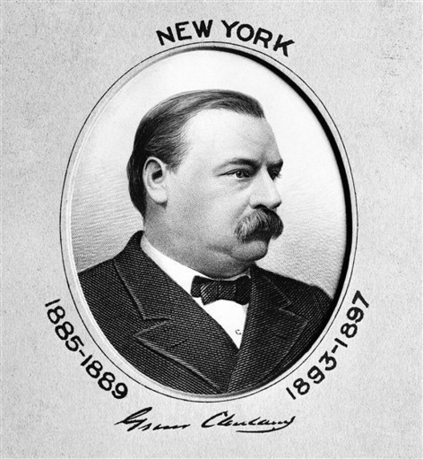 President Grover Cleveland is seen in this undated portrait. Grover Cleveland's inauguration was big news in Oshkosh, Wis., on March 4, 1885. So was an alarming report that kissing causes death. The Associated Press has been going back through history to find some of its stories as they appeared in