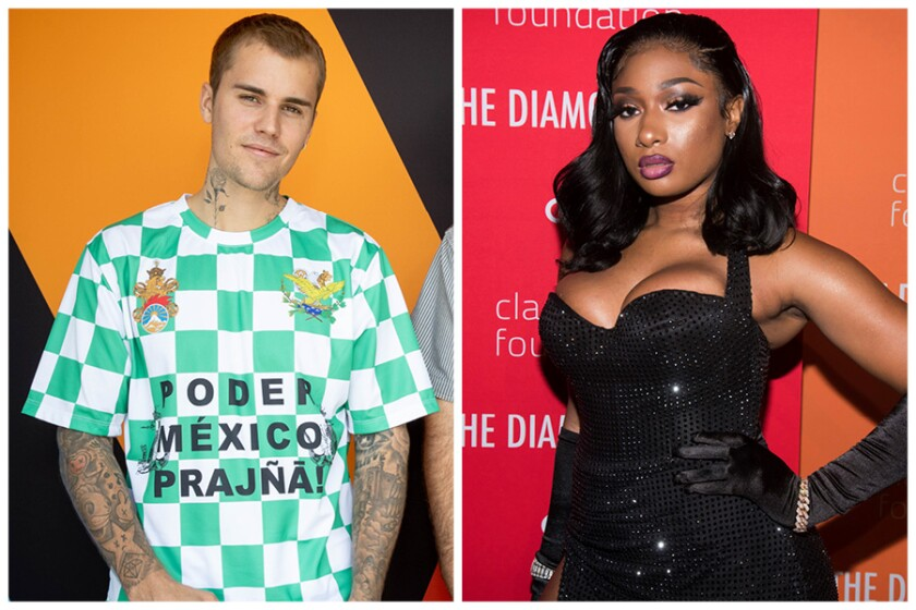 A split image of a man wearing a checkered green and white shirt and a woman wearing a sparkly black dress