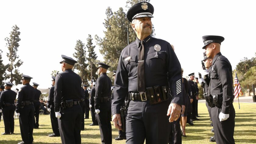 LOS ANGELES, CA - APRIL 13, 2018: Los Angeles Police Chief Charlie Beck conducts one of his last in