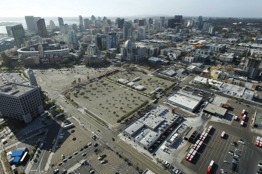"The proposed location for a ""convadium"" south of Petco Park."