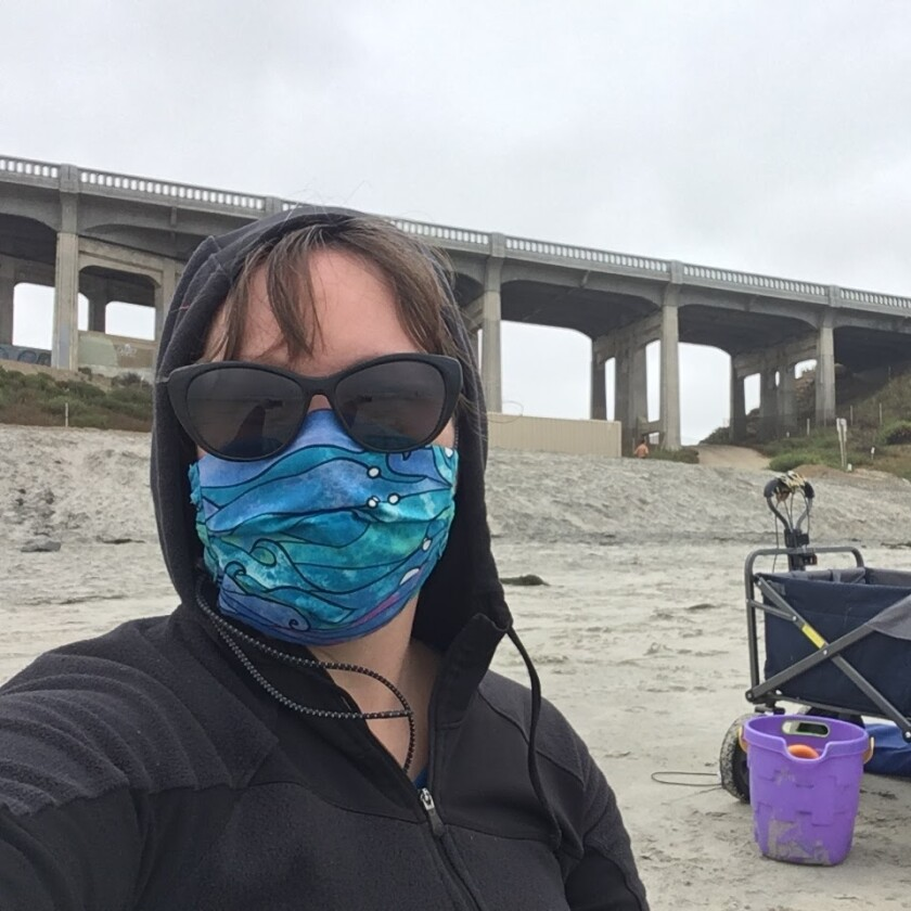 Del Mar resident Kimberly Hiland-Belding has made more than 300 masks since the pandemic started.