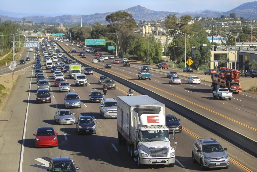 SANDAG's list of proposed projects includes a North County rail line and express lanes along state Route 78, shown here.