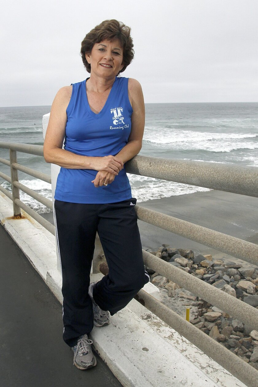 Kathy Kinane at the Oceanside Pier, where she holds a weekly run every Tuesday. A resident of Carlsbad, Kinane is executive director of Move Your Feet Before You Eat Foundation and president of Kinane Events.