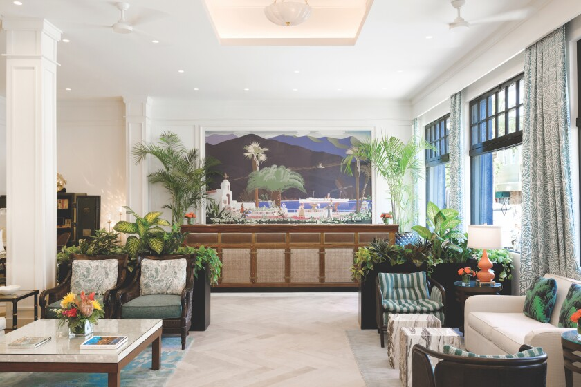 The lobby of Hotel Atwater on Catalina Island.