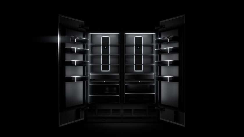 Inspired by black volcanic glass, JennAir?s new column refrigerators are designed with obsidian inte