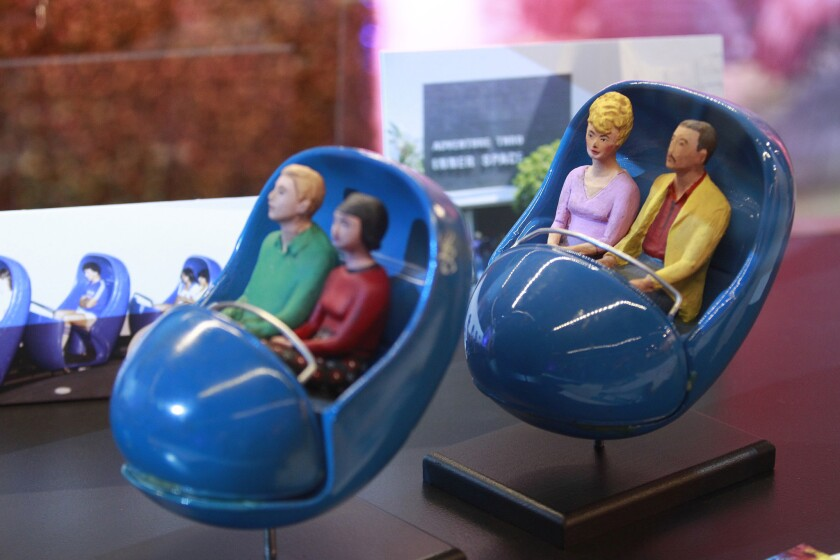 Back to the future: At Disney's D23 Expo in Anaheim, a re-creation of the long-gone Disneyland ride Adventure Thru Inner Space, which opened in 1967. Seen here, models of the Atomobiles that took visitors through the Disney attraction that seemed to shrink riders down to microscopic size. (Allen J. Schaben/Los Angeles Times)