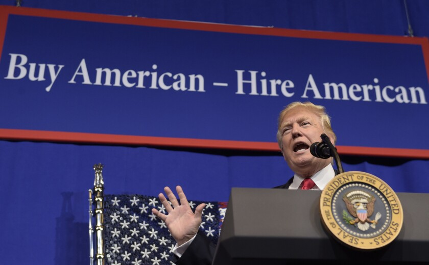 President Trump speaks at tool manufacturer Snap-on Inc. in Kenosha, Wis., in 2017 when he signed an executive order.