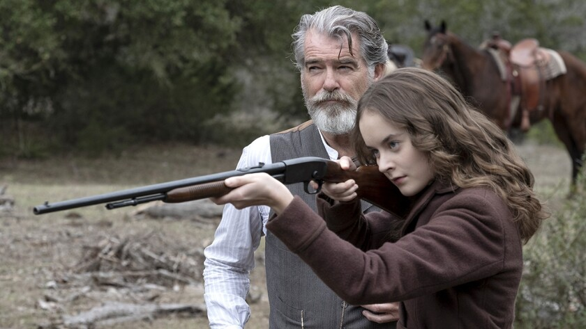 """Pierce Brosnan and Sydney Lucas in """"The Son"""" on AMC."""
