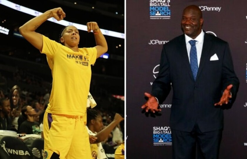 Candace Parker in uniform and Shaquille O'Neal in a business suit