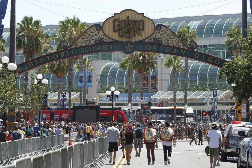 Looking down 5th Avenue toward the San Diego Convention Center during Comic-Con 2014.
