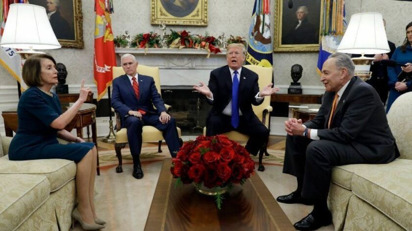 President Trump argues about border security with House Minority Leader Nancy Pelosi and Senate Minority Leader Charles E. Schumer at the White House on Dec. 11.