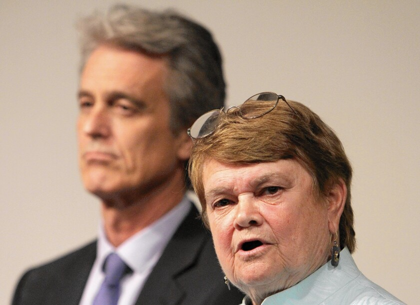L.A. County Supervisor candidates Bobby Shriver and Sheila Kuehl, shown in March, sparred on a number of hot-button issues Tuesday during a debate at UCLA, including about how best to spur the economy and manage the county's 100,000-employee workforce.