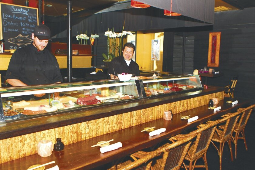 Many of Zenbu La Jolla's regular customers prefer dining at the sushi bar to interact with the sushi chefs and learn about the fresh seafood selections of the day. Photo by Daniel K. Lew