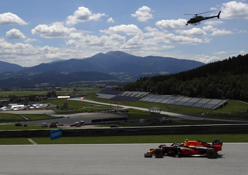 Red Bull driver Alexander Albon of Thailand steers his car during the third practice session at the Red Bull Ring racetrack in Spielberg, Austria, Saturday, July 4, 2020. The Austrian Formula One Grand Prix will be held on Sunday. (Leonhard Foeger/Pool via AP)