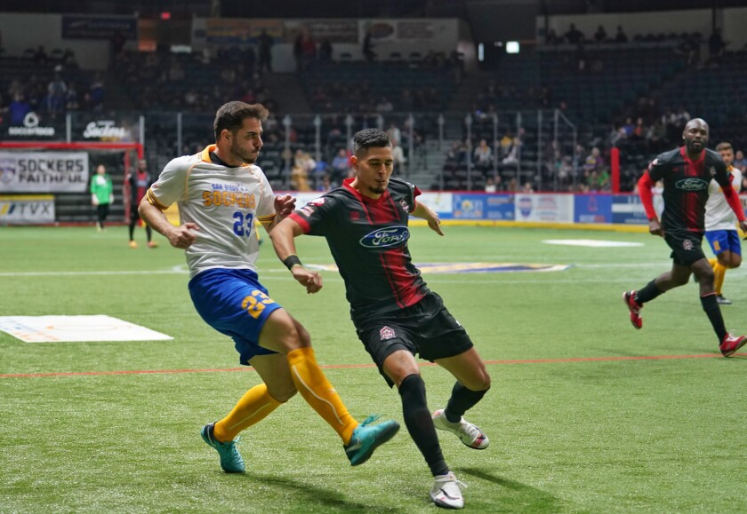 Sockers defender Luis Piffer (23) scored Sunday night's winning goal against Ontario.
