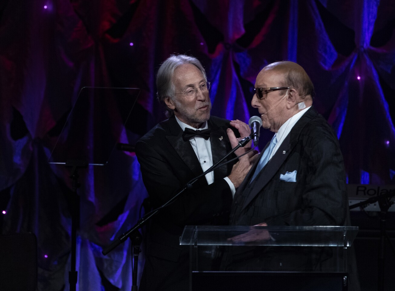Recording Academy President Neil Portnow, left, and Clive Davis at the record executive's annual pre-Grammy gala Saturday at the Beverly Hilton.