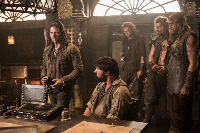 """Starz TV's """"Black Sails"""" features Luke Arnold, left, as John Silver. The drama was renewed for a fourth season."""