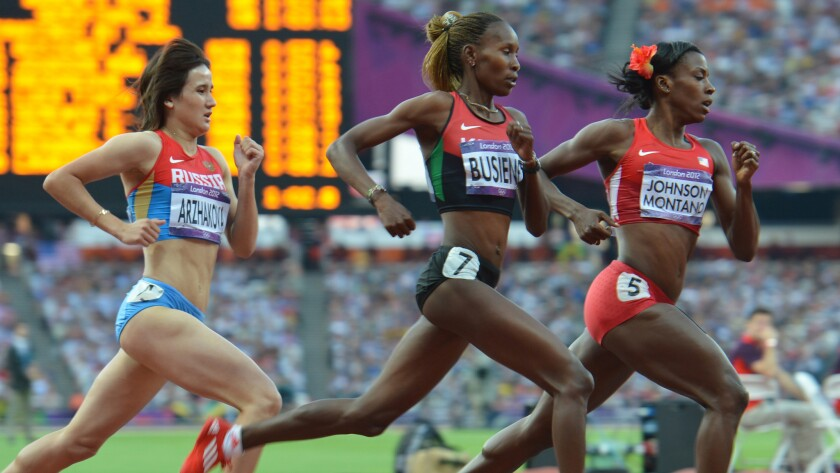 Alysia Johnson Montano leads Janeth Busienei and Elena Arzhakova during an 800-meter semifinal at the London Olympic Games on Aug., 2012.