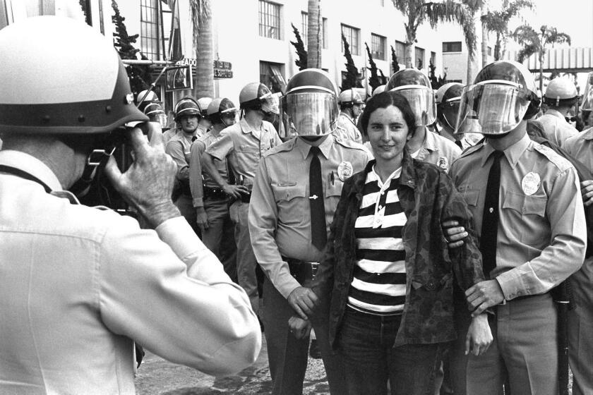Image of a protest from '29 Arrests' by Fred Lonidier (1972), on view in 'The Uses of Photography' exhibit, opening at Museum of Contemporary Art San Diego's La Jolla location Sept. 23.