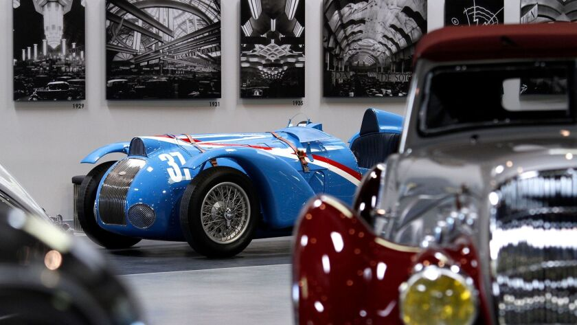 A 1937 Delahaye Type 145, V-12 Grand Prix race car sits on display at the Mullin Automotive Museum i
