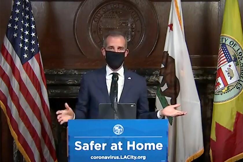 US Virus Outbreak Los Angeles Mayor