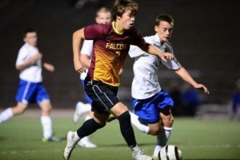 Asher Booth scored two goals in a 4-4 tie against Rancho Bernardo on Feb. 18. Photo/Anna Scipione