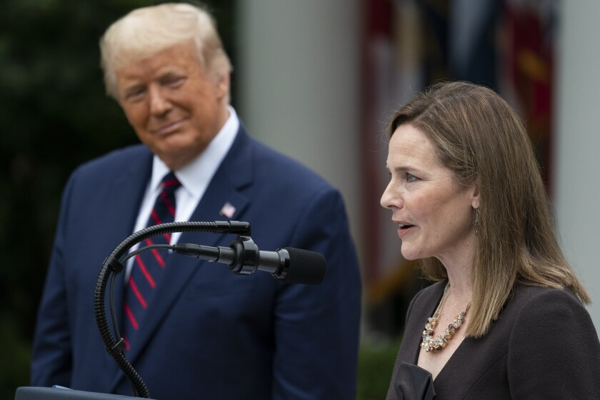 Judge Amy Coney Barrett speaks after President Trump announced her as his Supreme Court on Sept. 26.