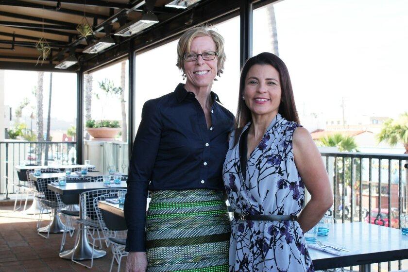 La Valencia Hotel's Director of Sales and Marketing, Rita Moore, and Monarch Arredon Contemporary gallery owner Elsie Arredondo.