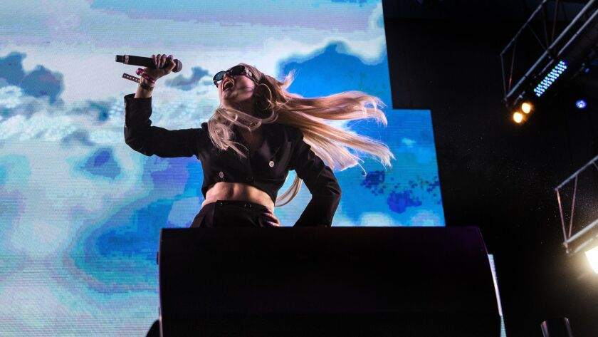 Kim Petras performs Saturday night during the L.A Pride festival in West Hollywood.