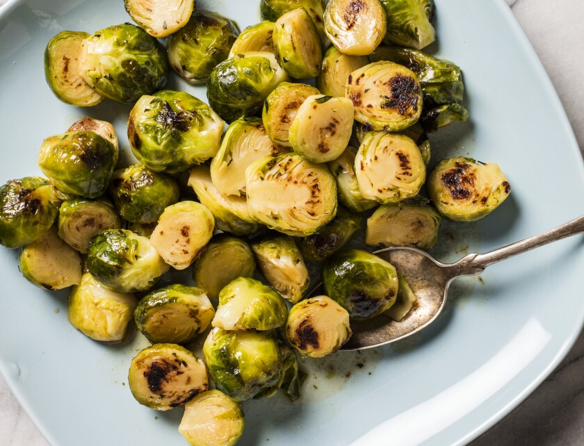 "Maple-Glazed Brussels Sprouts from ""The Side Dish Bible."""