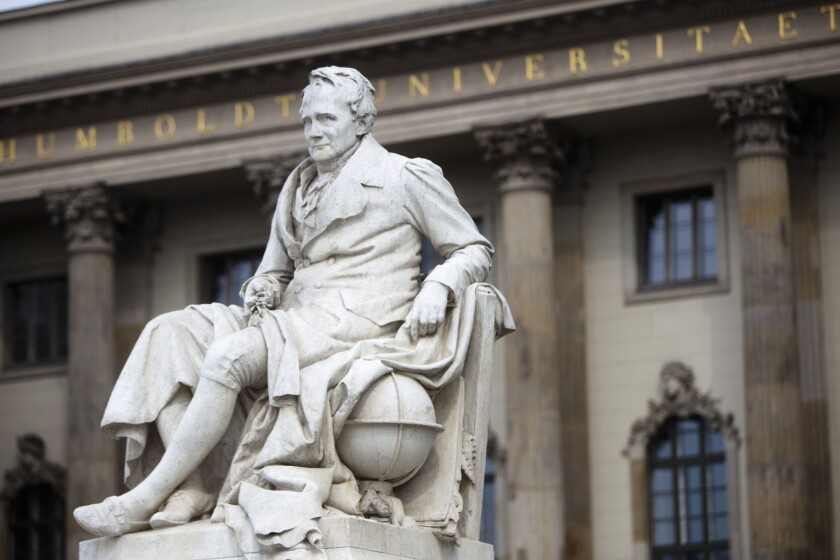 The statue of German scientist Alexander von Humboldt in front of the main building of the Alexander von Humbolt University in central Berlin on April 27, 2011.