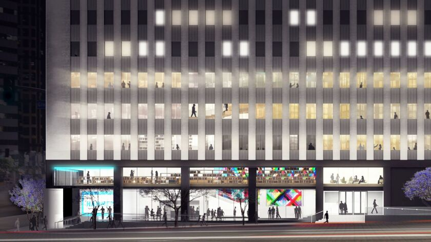 Computer rendering of the southern facade on Wilshire Blvd. of the renovation of the Hammer Museum.