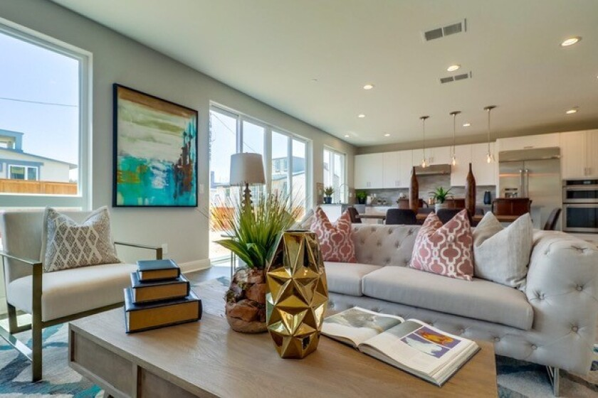 The two-story designer homes at Ticonderoga have floor plans of 2,746 square feet, four bedrooms and four bathrooms with open great rooms. Special features include a huge separate bonus room, attached two-car garage and views overlooking Mission Bay.