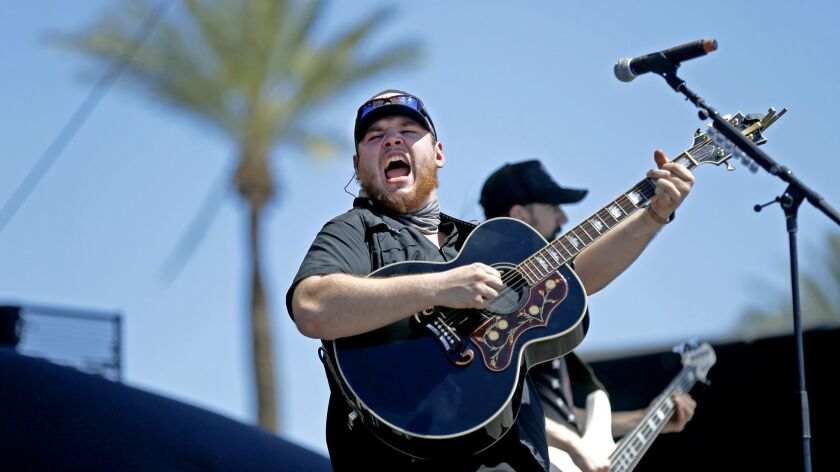INDIO, CALIF. -- SUNDAY, APRIL 30, 2017: Luke Combs performs on the Mane Stage on the third day of