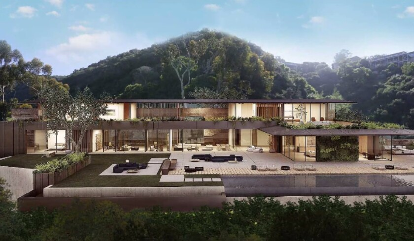 A rendering depicts a home development proposed for 7792 Senn Way in La Jolla.