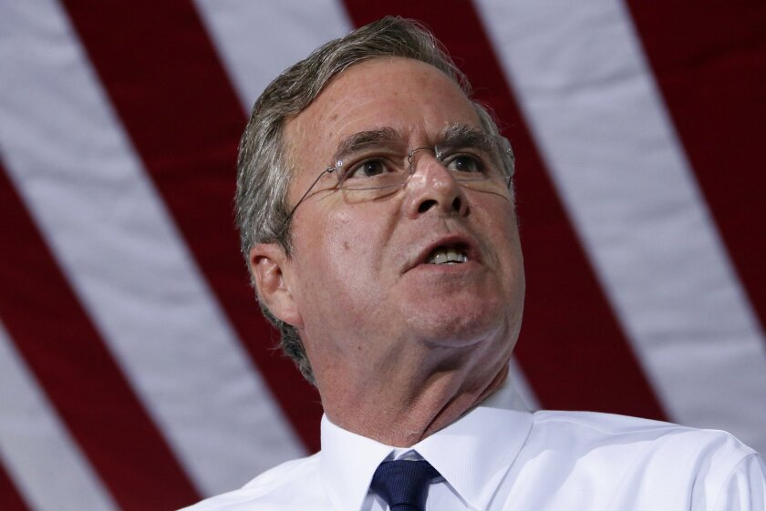 Republican presidential candidate, former Florida Gov. Jeb Bush outlines his energy policy during a visit to Rice Energy, an oil and gas company based in Canonsburg, Pa., Tuesday, Sept. 29, 2015. (AP Photo/Gene J. Puskar)