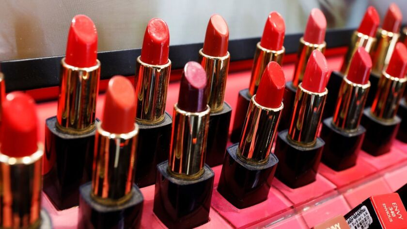 Lipsticks on display at a store.