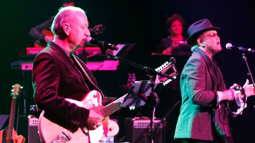 Michael Nesmith (left) and Micky Dolenz are shown at the first concert of The Monkees' 2012 reunion tour with Peter Tork (not pictured) at California Center for the Arts Escondido in Escondido, California.